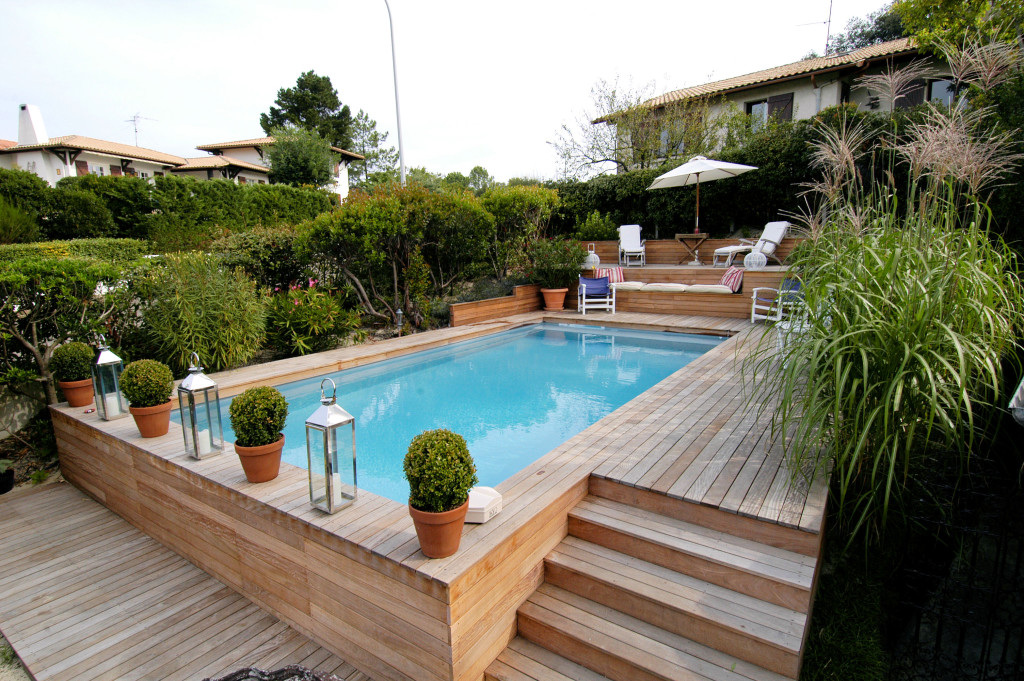 Piscine semi enterr e for Piscine hors sol wood grain